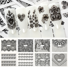 T-TIAO CLUB 1Pcs Water Transfer Nail Stickers Pattern Simple Black Designs Flower Lace Art Decales