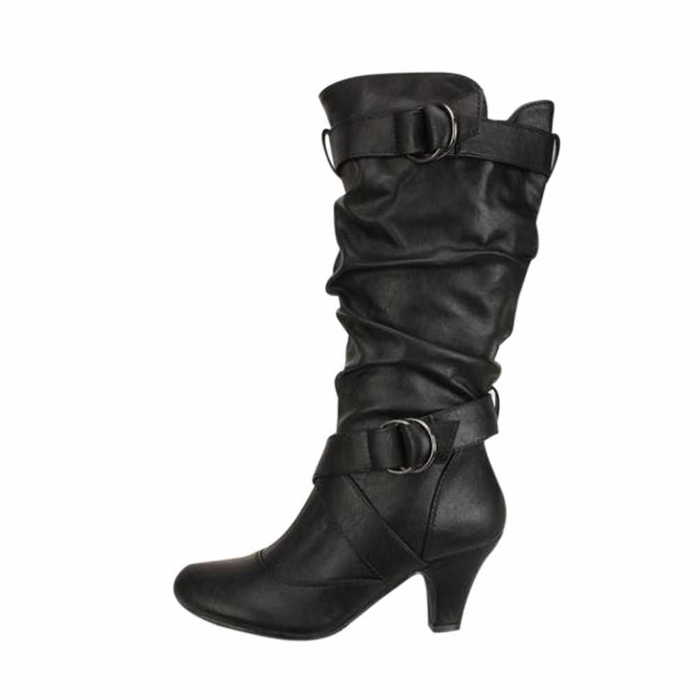 Модные женские сапоги 2018 г. Новые пикантные Для женщин высокой ботинки на высоком каблуке длинные высокие сапоги обувь женщина Женская обувь плюс размер 35-43
