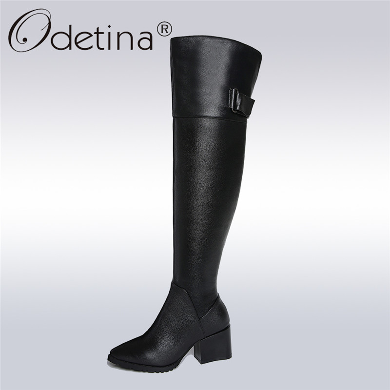 Odetina 2017 New Genuine Leather Womens Over The Knee Riding Boots Chunky Heel Pointed Toe Thigh High Boots For Plus Size 34-42