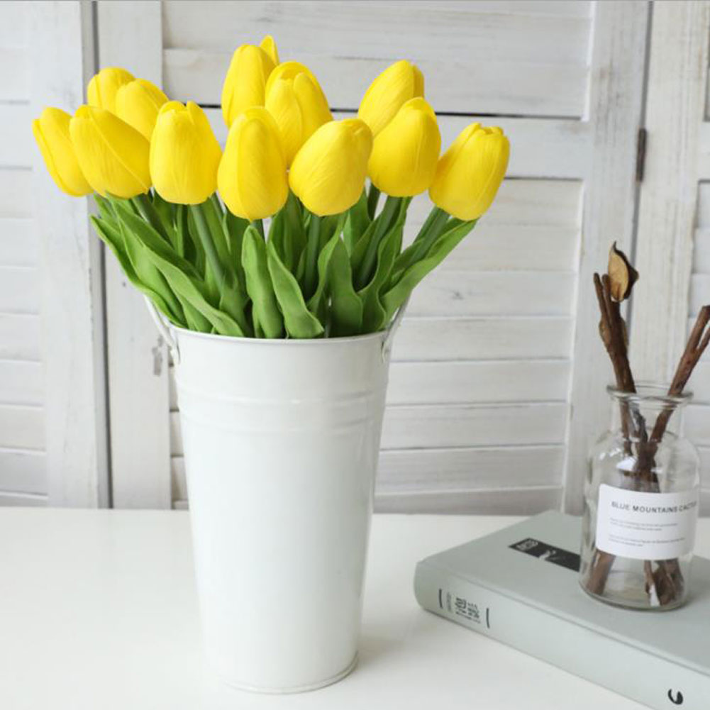 1pc Pu Tulips Artificial Flowers Real Touch Artificiales Para Decora Mini Tulip For Home Wedding Decoration Flowers Xf30