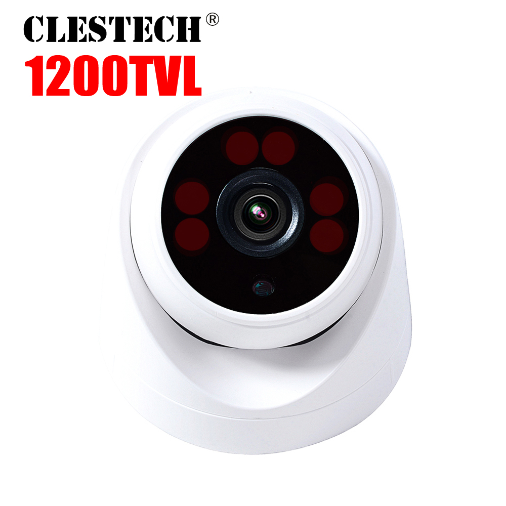 H.264 CMOS 1200TVL HD CCTV CAMERA 3.6MM Analog 6led Array Infrared 30m night vision Security protective indoor Dome color video