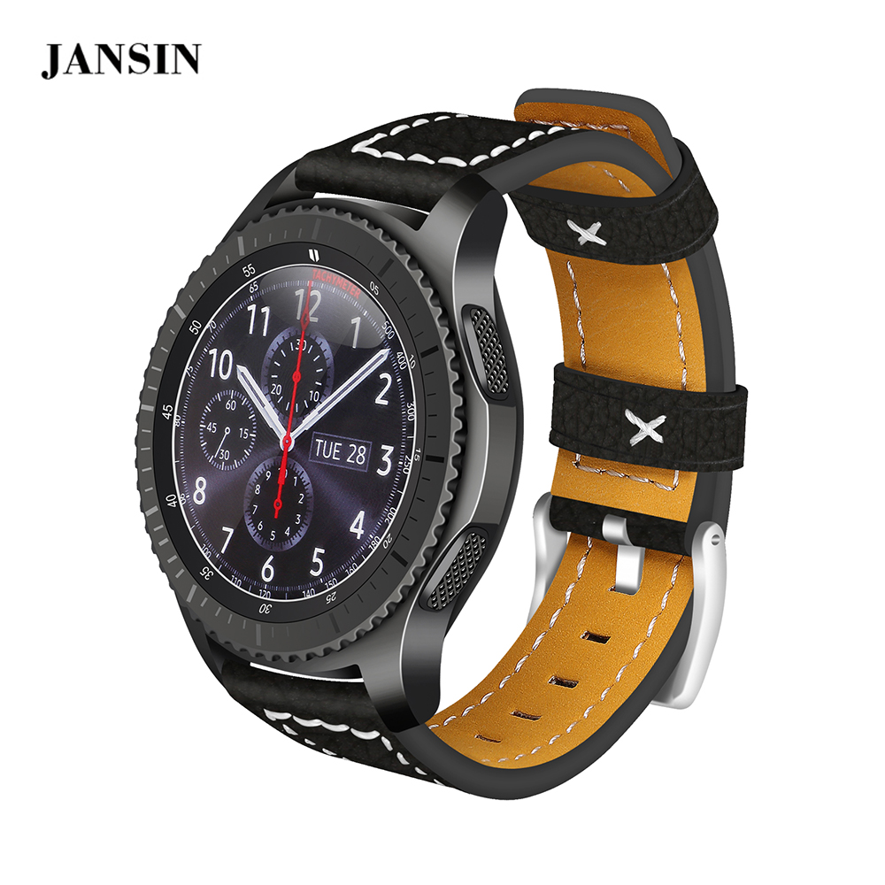 все цены на JANSIN 22mm universal Leather Strap For Samsung Gear S3 Frontier/s3 Classic/Galaxy Watch 46mm/Moto 360 2nd 46mm watch band онлайн
