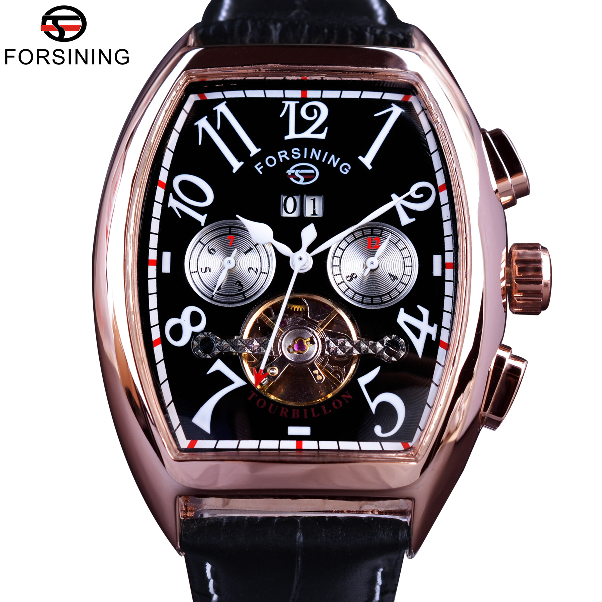 Forsining Date Month Display Rose Golden Case Mens Watches Top Brand Luxury Automatic Watch Clock Men Casual Fashion Clock Watch forsining mens watches top brand luxury golden men mechanical skeleton watch mens sport watch designer fashion casual clock men
