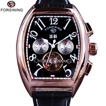 Forsining Date Month Display Rose Golden Case Mens Watches Top Brand Luxury