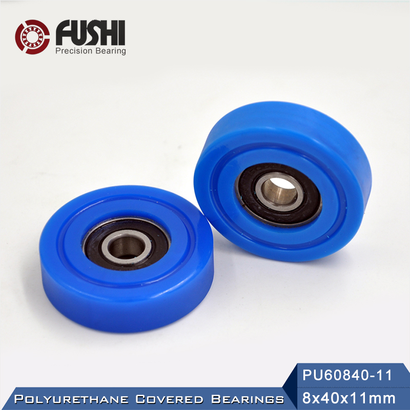 PU 608 Polyurethane Covered Bearing 8*40*11 Mm ( 2 Pcs ) Shaft 8mm PU60840-11 Urethane Cover PU608 Bearings