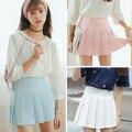 2017 Nueva Primavera de cintura alta Solid Bola Harajuku Mori girls Una Línea de faldas Plisadas falda marinero Más Tamaño uniforme escolar Japonés