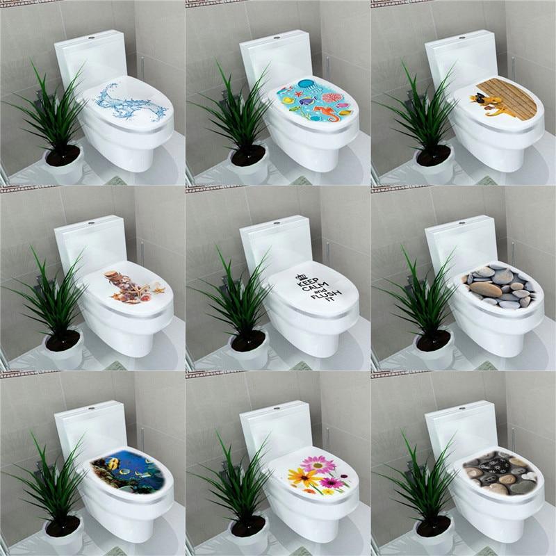 3D Toilet Seat Wall Sticker Paper Cartoon Cute Vinyl Art Removable Bathroom Decals Home Decor Pro