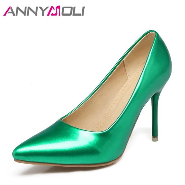 ANNYMOLI Women Shoes Thin High Heels Lady Wedding Shoes Women Elegant Shoes Pink 2018 New Large Size 33-46  Ladies Pumps Green