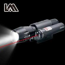 Мощный Zoomable факел Красный лазерный прицел Уивер Picatinny крепление набор для пистолета винтовка Riflescope охотничьи огни светодио дный фонарик