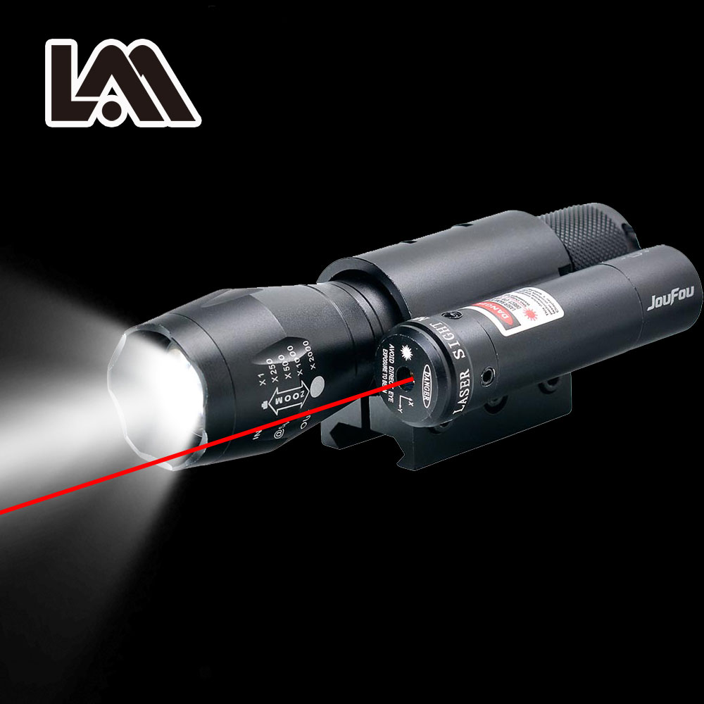 Powerful Zoomable Torch Red Laser Sight Scope Weaver Picatinny Mount Set for Gun Rifle Riflescope Hunting Lights LED Flashlight