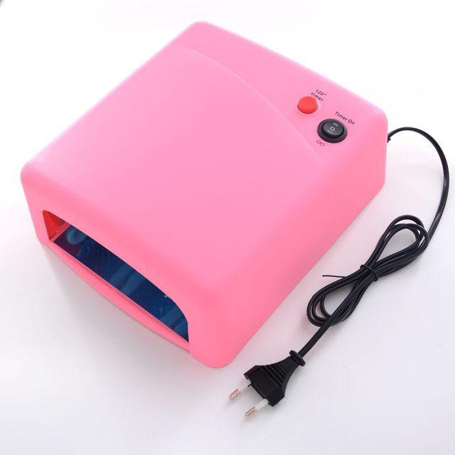 36W Pink Nail Art UV Gel Curing Lamp Dryer Light UV lamp with 4pcs 365nm UV Bulb
