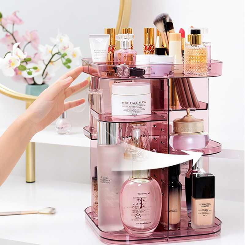 Dozzlor 1PC 360 Degrees Rotating Cosmetic Storage Rack Lipstick Jewelry Case Holder Display Stand Cosmetic Box MakeUp Organizer