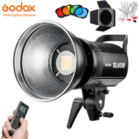 Godox SL60W Led Video Light 5600K 60W CRI 95+ Bowens Mount with Remote Controll & BD 04 Barn Door Honeycomb Grid 4 Color Filters