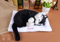 sleeping cat about 30cm black cat snoring breathing cat soft toy model,polyethylene & furs resin handicraft,gift h994