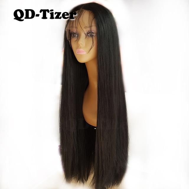 Lange Yaki Gerade Haar Schwarz Farbe Synthetische Lace Front Perücken Glueless Weiche 180 Dichte Spitze Vorne Perücke Yaki Haar für frauen