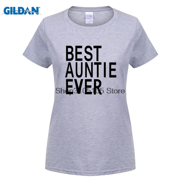 GILDAN Women 100% Cotton best auntie ever lady Print Summer Funny Couple T Shirts Tees Short Sleeve Causal Couple tops Clothes