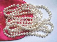 bjc 000571 64 loop necklace white freshwater pearl 8mm round beads A+ (C0309)