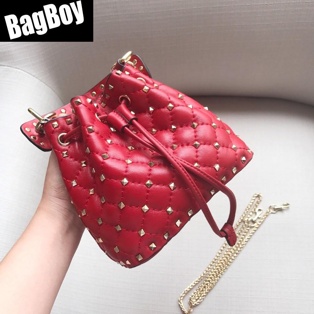 BagBoy Genuine Lether Luxury Bucket Handbag,Luxury Handbags Women Bags Designer,Crossbody Bag For Women,Party Rivet Shoulder Bag