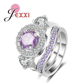 5346b5840c2b JEXXI 2 piezas Vintage joyería nupcial mujer 925 anillo de compromiso de cristal  Set Cubic Zircon anillo de dedo establece
