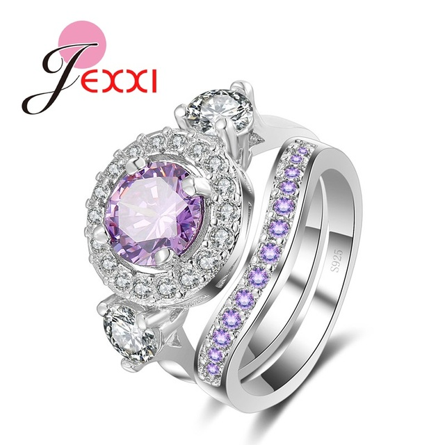 JEXXI 2Pcs Vintage Bridal Jewelry 925 Sterling Silver Woman Crystal Engagement W