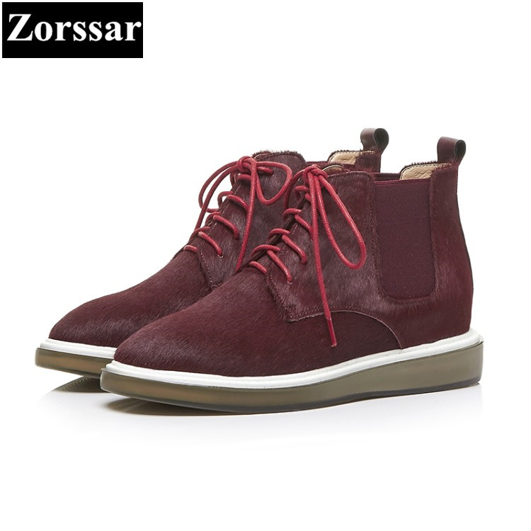 {Zorssar} Woman Fashion Genuine Leather Martin Ankle Boots Female Lace Up Low Heels Platform Comfortable Spring Autumn Shoes zorssar 2018 woman fashion genuine leather ankle martin boots female slip on flat heel casual short shoes spring autumn shoes