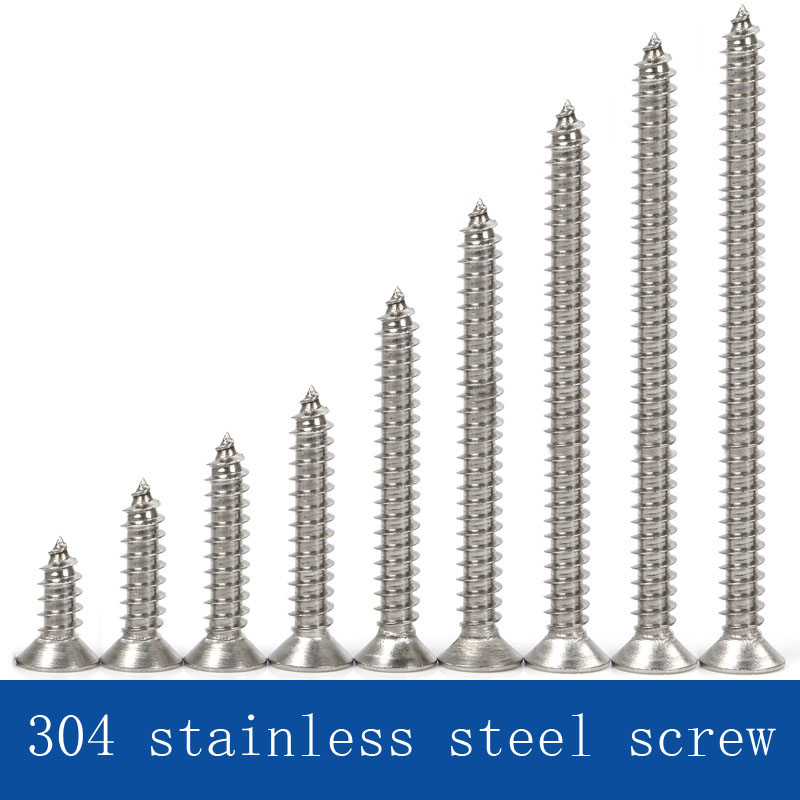 304 stainless steel self tapping screw  cross head screw   flat head screw M4304 stainless steel self tapping screw  cross head screw   flat head screw M4