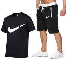 2019 марка футболка мужские комплекты мода лето хлопок с коротким рукавом спортивный костюм футболка
