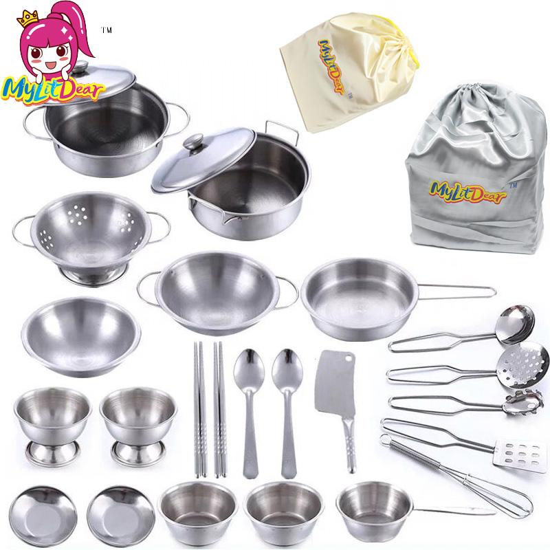 Stainless Steel Children Kitchen Toys Miniature Cooking Set Simulation Tableware Toy Pretend Play Cook Toy For Kids Gift Bag Children Kitchen Toys Kitchen Toyscooking Toys Aliexpress