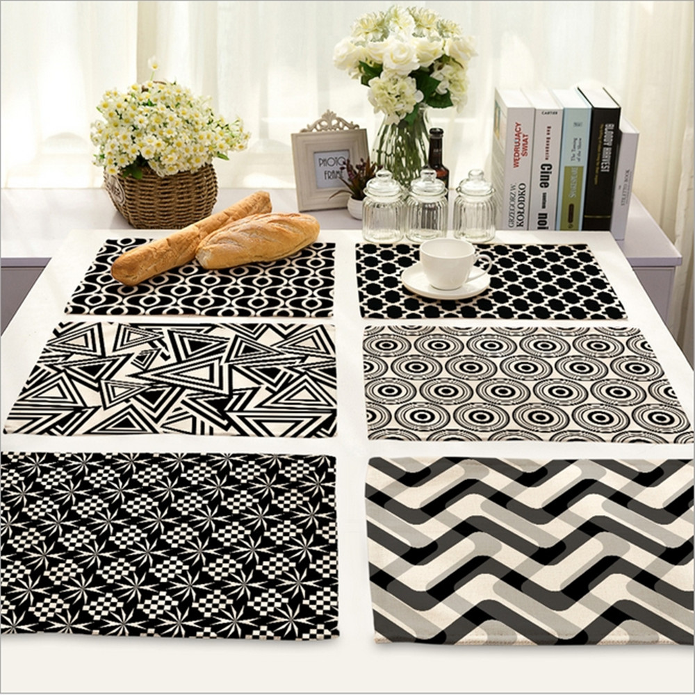 Home decor black white stripe placemat linen fabric table for Black home decor accessories