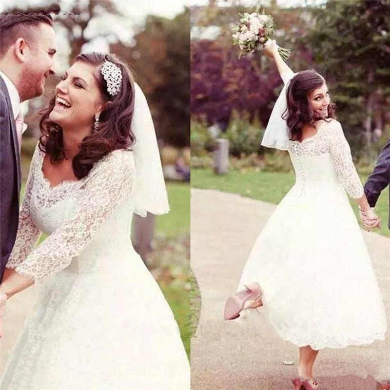 Vintage Three Quarter Length Wedding Dresses