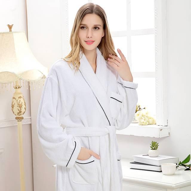 cec7331005 Cotton bathrobe women long winter pajamas men sleepwear nightgown blanket towel  fleece bridesmaid kimono robe warm