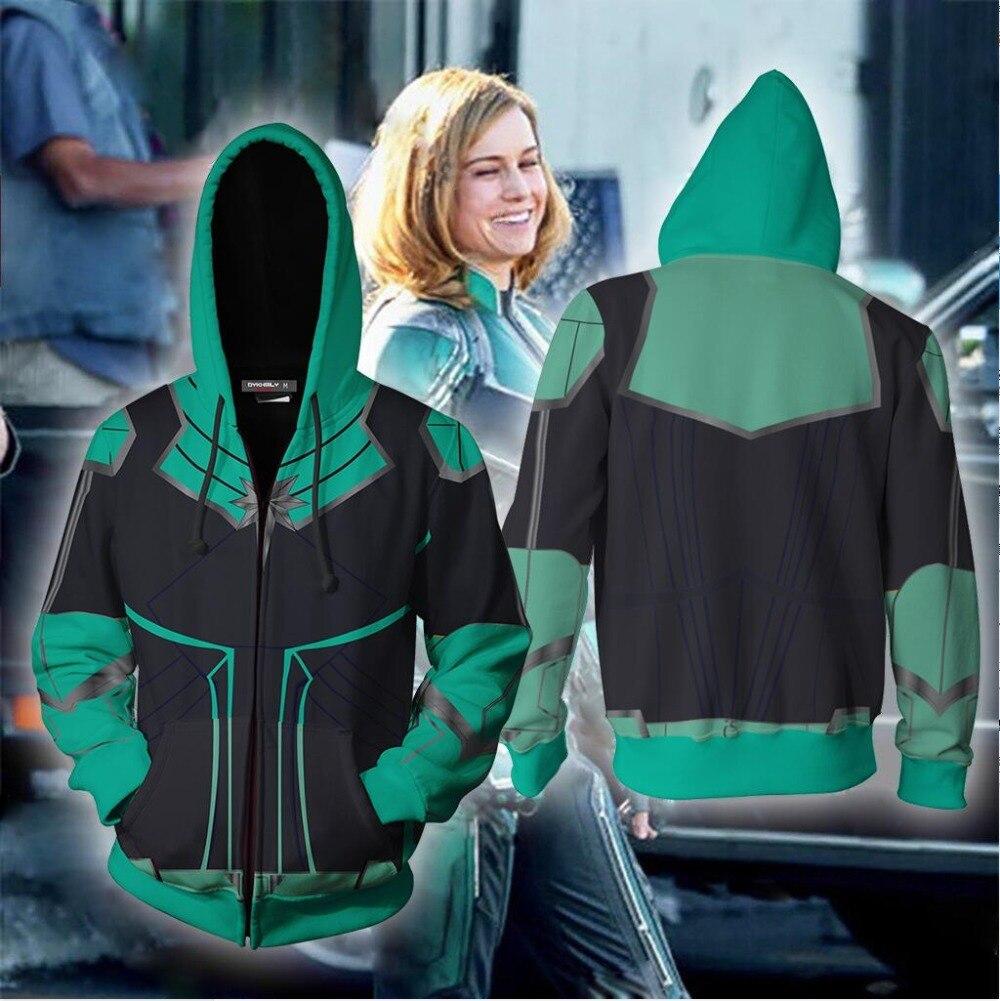 Captain Marvel 2019 Cosplay Zip Up Hoodie Jacket 3D Printed Costumes Hoodies Unisex Men Autumn Spring Thin Cosplay Sweatshirts