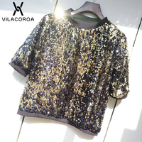 Fashion Shiny Sexy T Shirt Women Round Neck 5 Point Sleeve Sequin T Shirt For Girls Party Club T Shirt Feminina One Size Tops