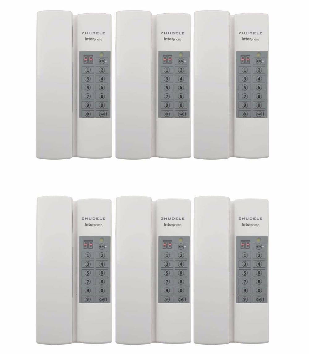 ZHUDELE Multi-function home security Interphone 6-way safe audio doorphone/intercom system, Max 99 handle extenable+Power supply