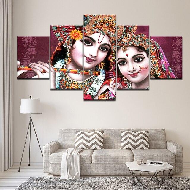 Canvas Painting Shri Radha Krishna Beautiful 5 Pieces Wall Art