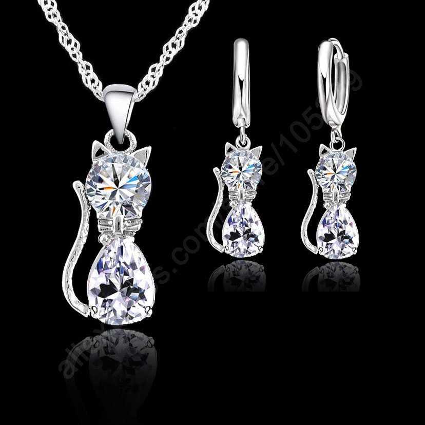 PATICO Women Jewellery Sets Genuine 925 Sterling Silver Cubic Zirconia Cat Kitty Necklace Pendant+Leverback Earrings Hot
