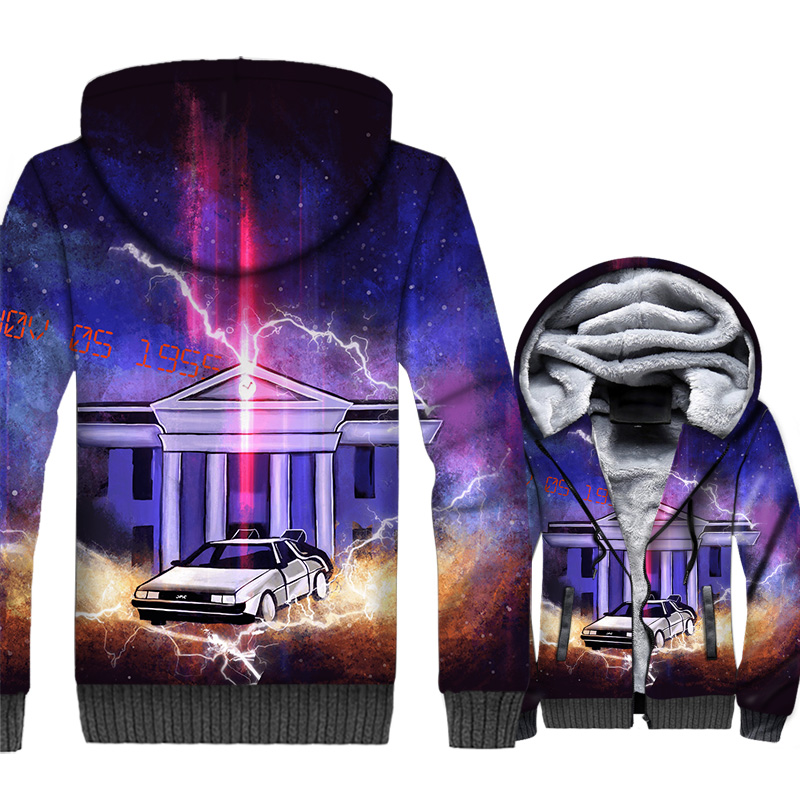 Back to the Future Jacket 3D Print Hoodie Men Funnny Sweatshirt Mens 2018 New Design Winter Thick Fleece Warm Coat Plus Size 5XL