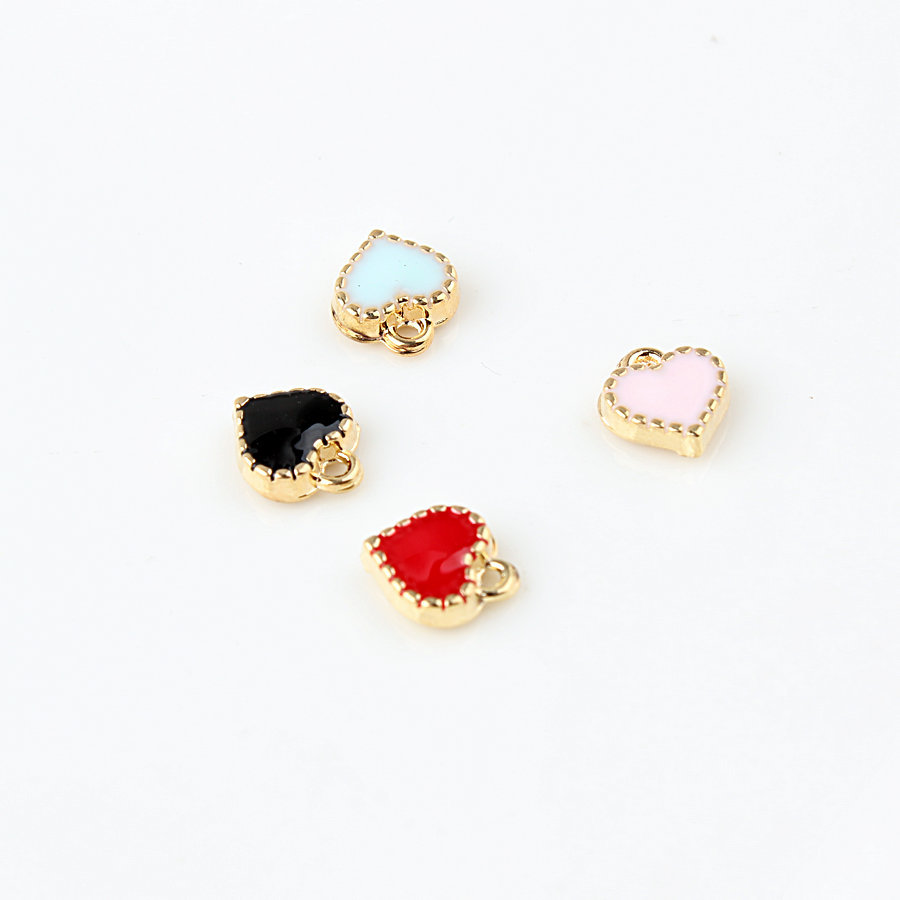 10 PC/Lot 8*9mm Zinc Alloy Enamel Charms Mini Sweet Heart Charms For DIY Necklaces Bracelets Jewelry Accessories