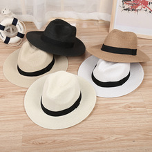 2018 Shade Caps Sun Hat Ribbon Round Flat Top Straw Beach Panama Hat Summer Hats For Men Women Straw Hats Snapback Gorras