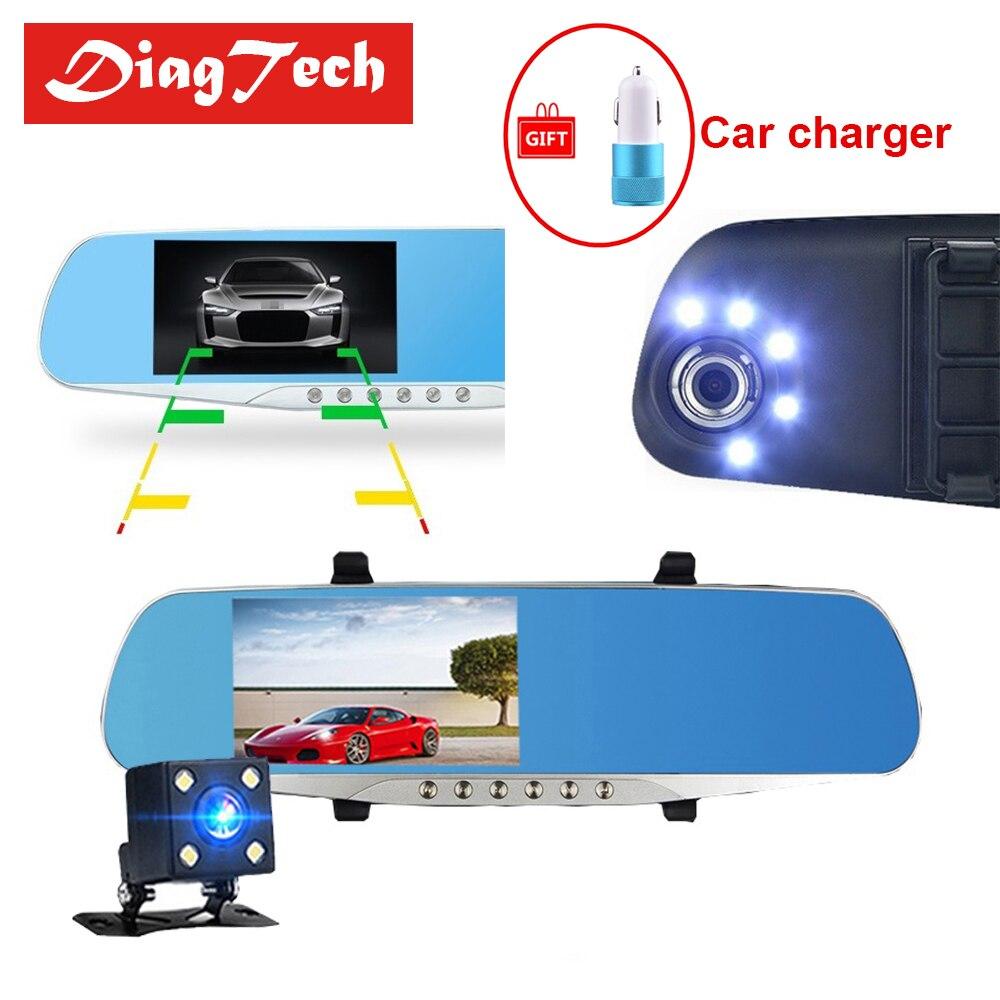 Gryan Auto Rückspiegel Auto Spiegel Video Mit Dual Kameras Auto DVR 4,3 ''Full HD 1080 P Dual Objektiv rückansicht Kamera Dashcam