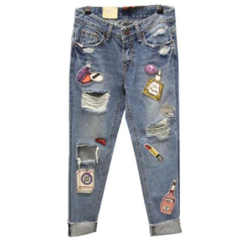 2019 Plus Size Jeans Women Fashion Korean Personality Hole Sequins Large Harlem Jeans Students Nine-Point Denim Pants Trousers