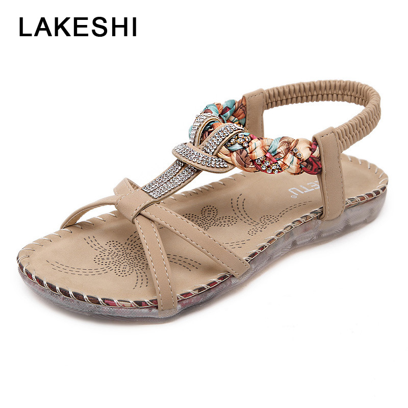 LAKESHI Rhinestone Ladies Sandals Summer Woman Shoes Bohemian Women Sandals Fashion Flip Flops Women Casual Sandals Flat Shoes wastyx new 2017 summer fashion cowboy women sandals casual women flip flops shoes wedges shoes woman