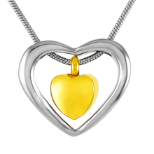 IJD9198 Stainless Steel Double Heart Cremation Souvenir Necklace for Ashes Urn Memorial Keepsake Pendant Jewelry стоимость