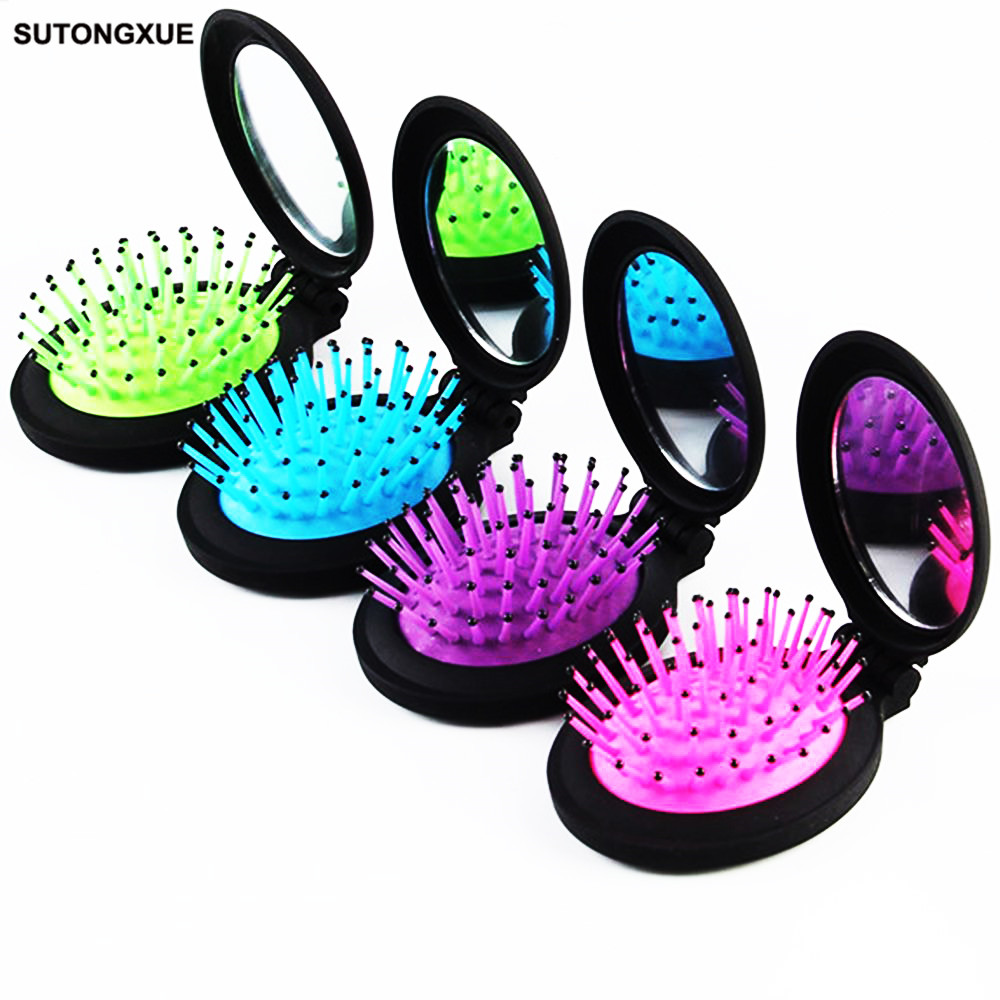 1 Pcs New Girls Portable Mini Folding Comb Airbag Massage Round Travel Hair brush With Mirror Cute oval shape