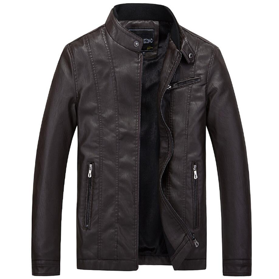 New Spring Autumn Motorcycle Leather Jacket Men Casual Slim Business Coat Bomber Biker Faux Leather Jackets Outwear Male 4XL