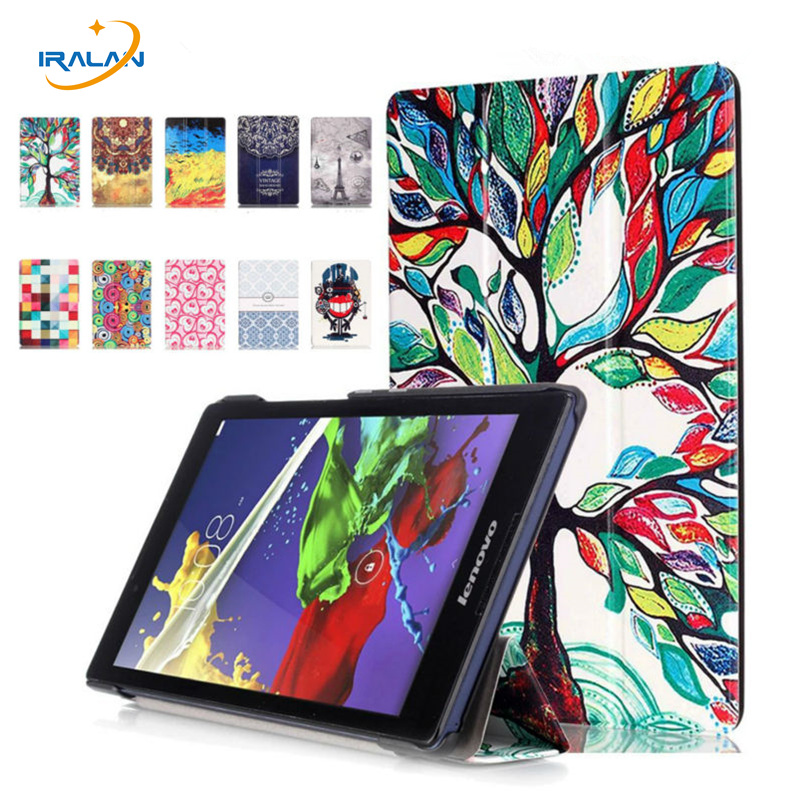 все цены на Painted Stand Flip case For Lenovo Tab2 A8-50 A8-50F A8-50LC Tablet Cover For lenovo tab 3-850f/850m/850l+OTG+stylus+screen film онлайн
