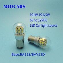 MIDCARS Hot-sale 1157 Dual-intensity 6V P21W LED Bulb, BAY15d P21/5W SMD LEDs/ Car-ship Indicator Light, Rear 6V to 12VDC Bulb цена 2017