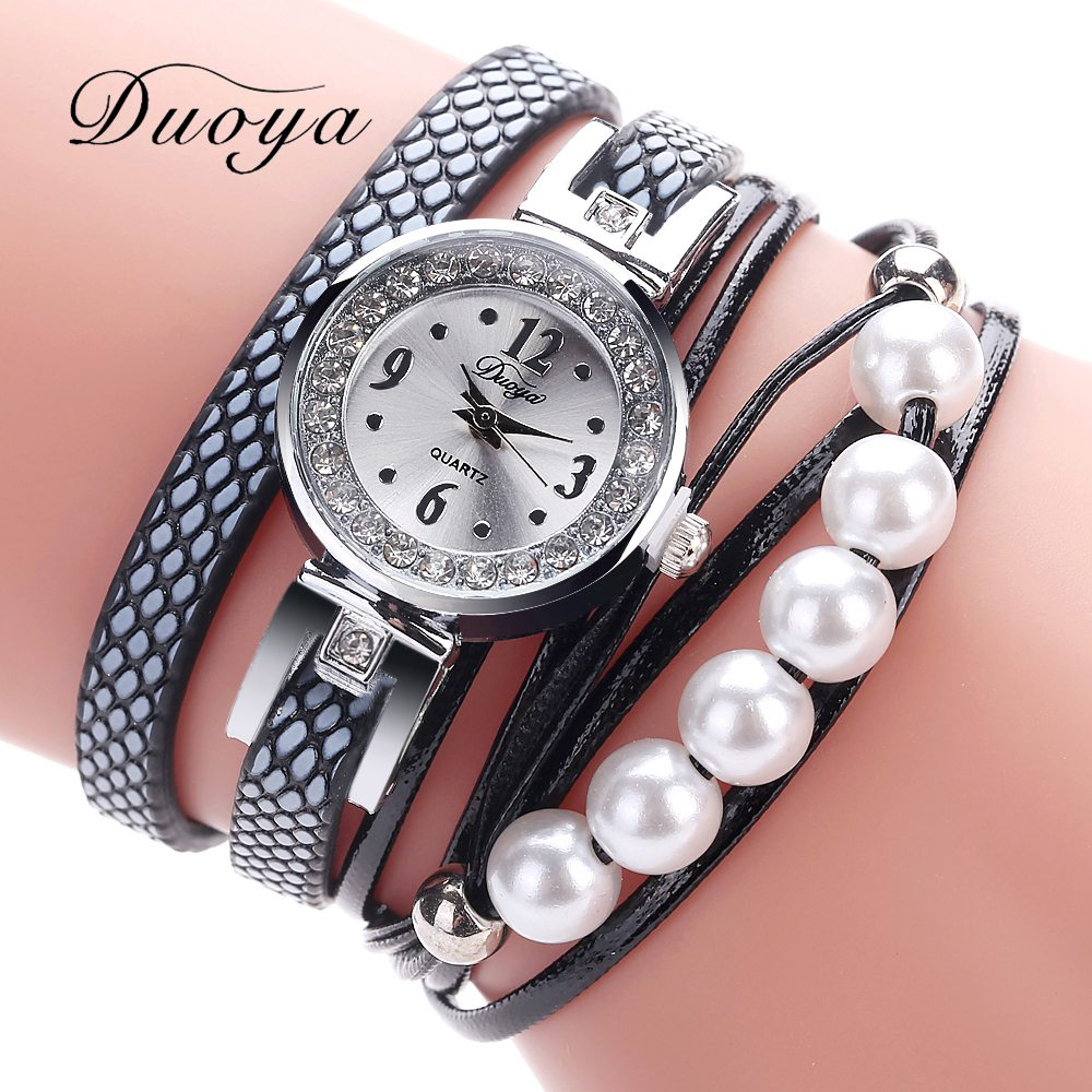 Duoya Brand Fashion Watch 2017 New Arrival Women Silver Bracelet Pearls Charm Clock Wrist Quartz Watch Luxury Ladies Relogios new arrival bs brand quartz rectangle bracelet women luxury crystals bracelet watch lady rhinestone watch charm bangle bracelet