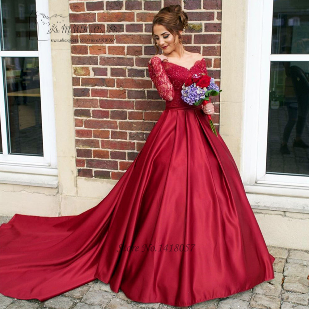 Burgundy Wedding Dresses Long Sleeve Red Arab Wedding Gowns Vestido de Casamento Lace Bride Dress Detachable