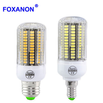Foxanon 5733 SMD Bulb E27 / E26 15w Led lamp E12 Corn Light lampada 110V 3w 5w 7w 10w Candle Light 100W 150W Equivalent Lighting image